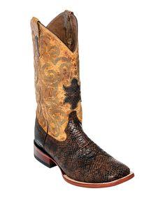 Chocolate Snake Print Wingtip Leather Cowboy Boot - Men