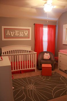 Sweet orange and pink nursery. LOVE it!!! Just want to do her name a little differently.