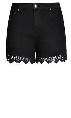 City Chic - CROCHET TRIM SHORT SHORT - Women's Plus Size Fashion