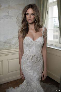 berta bridal fall 2015 mermaid wedding dress draped swag bead cap sleeves close up bodice