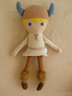 Fabric Rag Blond Viking Boy Doll - rovingovine