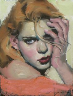 Artist: Malcolm T. Liepke (b. 1953), oil on canvas {contemporary figurative #impressionist art beautiful blonde female head woman face portrait painting #loveart} Lovely !!
