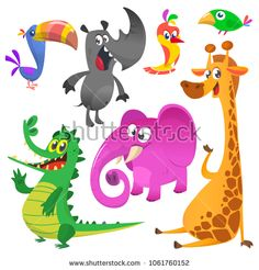 10cac71b9d145 Big set of animal icons for package design or logo. Vector illustration of  crocodile