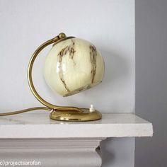 Vintage Lighting. Midcentury Art Deco Lamp. Small Bedside Tab.