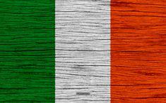 Herunterladen hintergrundbild flagge von irland, 4k, europa, holz-textur, irische flagge, nationale symbole, irland-flagge, kunst, irland