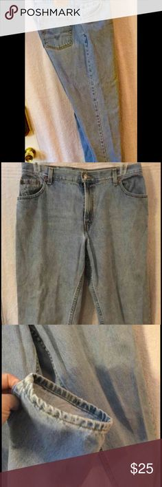 "Woman Levi's 550 Jeans 16M PREOWNED Lightly worn  No holes, stains, or any other damage Light stone color  Length~ 40"" Inseam~ 30"" Waist measurement laying flat~18"" Levis 550's Jeans Straight Leg"