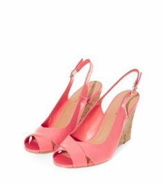 Coral Patent Open Toe Cork Wedges