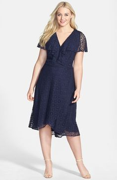 Adrianna Papell Geometric Lace Surplice Bodice Dress (Plus Size) available at #Nordstrom
