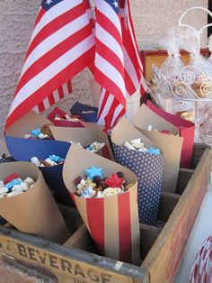 red, white and blue celebration tables; The paper cones - SUCCESS!