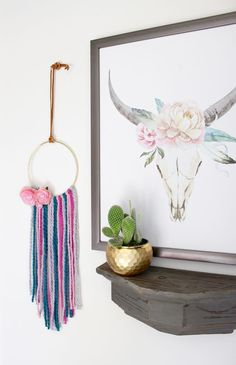 This DIY boho wall hoop is right on trend and will look perfect in your modern boho nursery or anywhere in your home. Boho Nursery, Nursery Decor, Nursery Ideas, Room Ideas, Boho Wall Hanging, Boho Diy, Project Nursery, Modern Boho, Kid Spaces