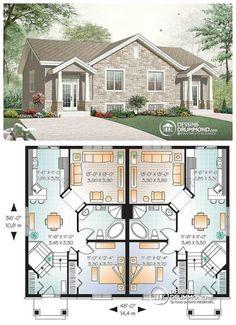 1000 images about mod les de maison jumel e plans de for Maison americaine interieur