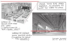 Enjoy a series of Drawing Tips by Thomas Romain on backgrounds, buildings, interiors & more. Thomas Romain is a French animator who is responsible for Drawing Tips, Drawing Reference, Drawing Ideas, Drawing Stuff, Drawing Poses, Thomas Romain, Cannon Busters, Background Drawing, Background Ideas