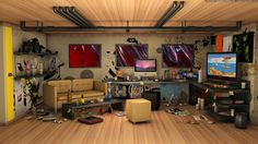 Room, 3d art, brown, monitor, room