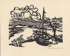 Kleinschmidt, Peter : Pommersche Landschaft - Holzschnitt
