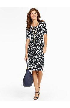 Dotty Floral Faux-Wrap Knit Dress