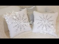 DIY Snowflake Pillows! A winter-inspired room decor idea, made just for you!! DIY How To: sew an envelope pillow cover, make a snowflake stencil, spray paint...