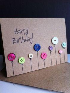 diy birthday cards Happy Birthday Button Card - 17 DIY Card Ideas For Birthday Birthday Cards Homemade Birthday Cards, Homemade Cards, Happy Birthday Diy Card, Birthday Cards For Kids, Tarjetas Diy, Button Cards, Bday Cards, Cute Cards, Cards Diy