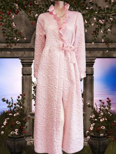 dcb1bf8db1 A gorgeous one of a kind vintage bridal trousseau quilted robe by Gilligan  O Malley in a luscious shade of pink. The exquisite robe has a quilted rose  ...