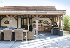 covered patio design with grill