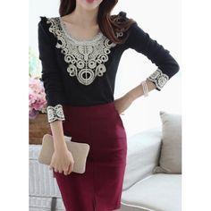 Stylish Scoop Neck Long Sleeve Lace Embellished Women's T-Shirt