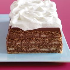 An overnight stint in the fridge softens the graham crackers and firms up the pudding to create a sliceable dessert in this icebox cake recipe.