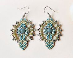 Teal earthy micro macrame earrings bohemian por MartaJewelry