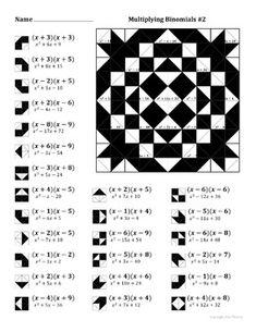 Factoring Quadratic Expressions Color Worksheet #4