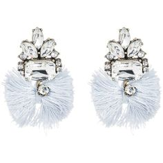 BAUBLEBAR Flamenco Tassel Drop Earrings (48 BRL) ❤ liked on Polyvore featuring jewelry, earrings, grey, grey earrings, post drop earrings, crystal jewelry, post back earrings and earring jewelry