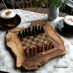 Rustic Chess Set, Engraved Olive Wood custom natural edge personalized chess…
