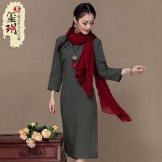 Elegant Flax Traditional Qipao Cheongsam Dress - Gray - Qipao Cheongsam &…