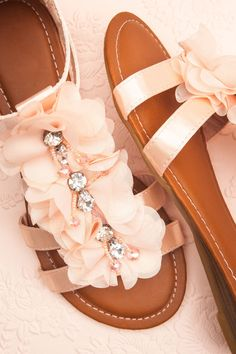 Pink sandals with petals and sparkle