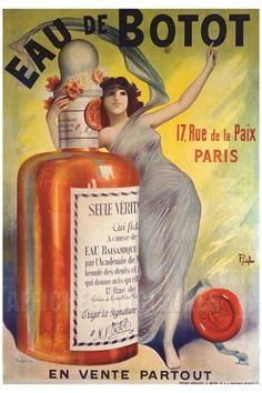 This vertical french product poster features a woman draped in sheer fabric with her arm around a giant bottle lifting her arm in the air. The beautiful Vintage Poster Reproduction perfect for an office or living room. Eau De Botot by Pal 1900 France Vintage French Posters, Vintage Advertising Posters, Vintage Advertisements, Vintage Prints, Poster Vintage, Paris Vintage, Pub Vintage, Vintage Labels, Vintage Travel