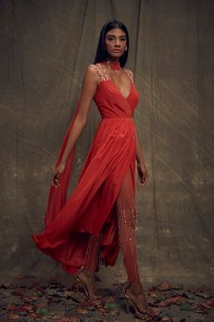 Coral Asymmetic Overlap Anarkali – Studio East6 Dress Indian Style, Indian Dresses, Indian Outfits, Bollywood Outfits, Bollywood Fashion, Indian Attire, Indian Wear, Stylish Outfits, Fashion Outfits