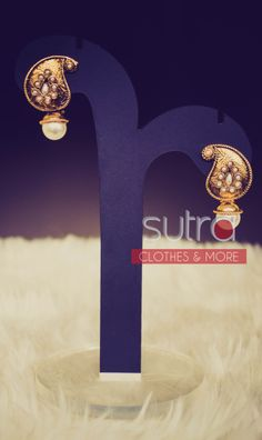 Classic mango shaped studs with rounded pearl drops and tiny pearls engraved.  http://on.fb.me/1oBtOB0