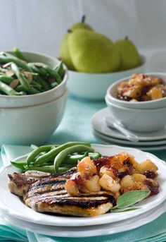 Post image for Gluten Free Brined Pork Chops with Spicy Pear Chutney Recipe. ~ Pinning for the Pear Chutney minus the sugar. .!