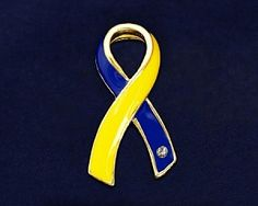Blue & Yellow Ribbon Pin - $2.99 - Kids with Down syndrome