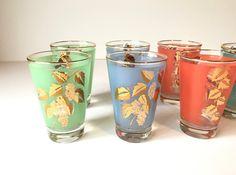 Vintage Juice Glasses, Juice Glasses, Vintage Glassware, Gold Rim and Leaf Juice Glasses, Whiskey Glasses, Barware, Vintage Barware by Vintagetinshed on Etsy