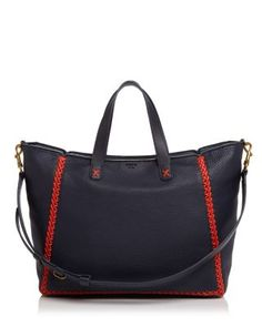 11f0528af388f Get one of the hottest styles of the season! The Tory Burch Whipstitch  Medium Sale Tory Navy Tote Bag is a top 10 member favorite on Tradesy.