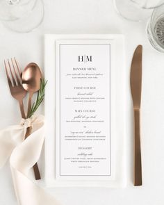 Wedding Design Glam Monogram Wedding Menus - Compliment your wedding reception with these timeless wedding menus. Matches our Glam Monogram suite. Perfect for wrapping in a napkin or placing on the center of plate. Wedding Menu Template, Wedding Menu Cards, Wedding Programs, Wedding Table, Wedding Buffet Menu, Wedding Dinner Menu, Wedding Wishes, Wedding Gifts, Carta Restaurant