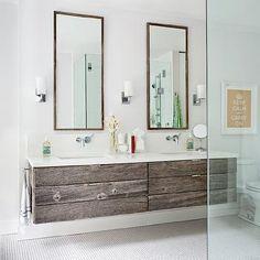 Reclaimed Wood Floating Vanity, Contemporary, Bathroom, Jennifer Worts Design