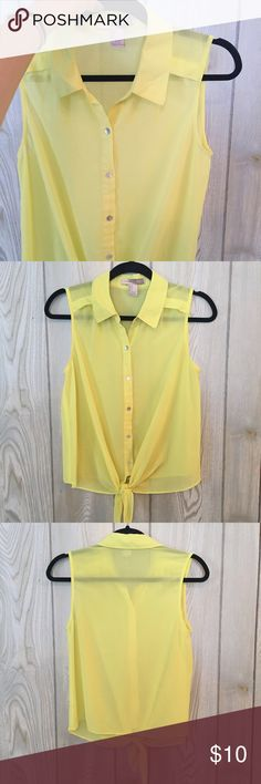 Yellow Tie-Front Tank Super cute top that can be dressed up or down. rather sheer, so cute when worn with a bandeau. Forever 21 Tops Tank Tops