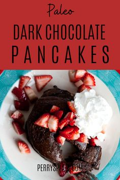 Start your Valentine's Day (or any day!) with pancakes that taste like chocolate cake! This breakfast tastes like a dessert, covered with fruit. You won't believe it's Paleo and grain-free. Chocolate Pancakes, Paleo Chocolate, Like Chocolate, Chocolate Cake, Gluten Free Recipes, Keto Recipes, Paleo Pancakes, Valentines Day Treats, Whole 30 Recipes