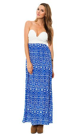 Tribal bustier maxi dress