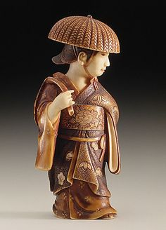 Chikuunsai (Japan)   Wisteria Maiden, late 19th-early 20th century  Netsuke, Ivory with deep staining,