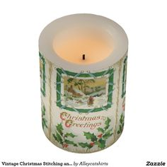 Vintage Christmas Stitching and Christmas Greeting Flameless Candle
