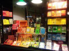 Rainbow bookstore window display.