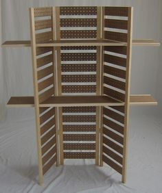 "Pegboard Display- 58""T, w/2 long shelves .... what a fabulous booth display idea!"