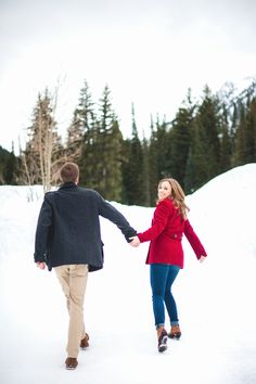 Snowy winter engagement session in Big Cottonwood Canyon, Utah.