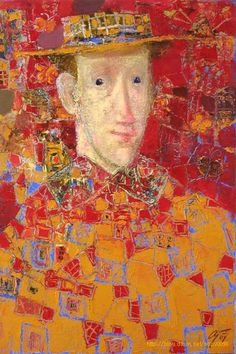 Портрет в красном. Andrey Aranyshev (b 1956, Yaroslavl, Russia)