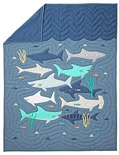 Shark Bait Twin Quilt - A couple of different breeds of sharks here. #ad